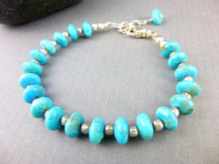 Kingman Turquoise Throat Chakra Bracelet, Sterling Silver, December Birthstone