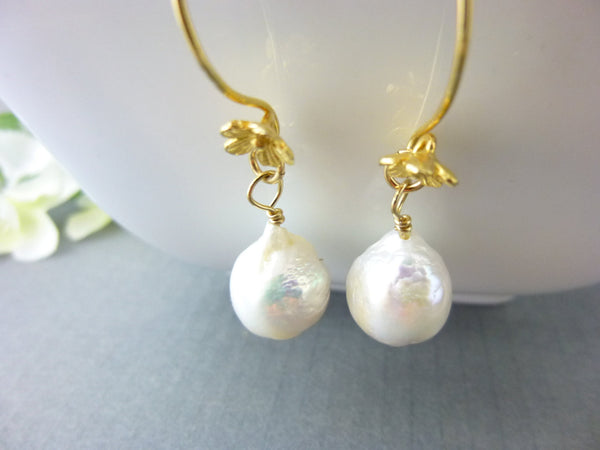 Flameball Baroque Pearl Chakra Earrings, Vermeil