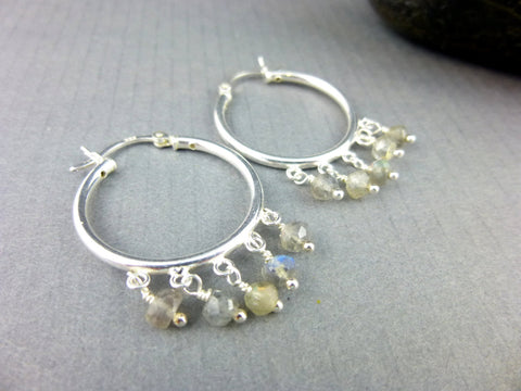 Labradorite Hoop Chakra Earrings, Third Eye Chakra - Earth Energy Gemstones