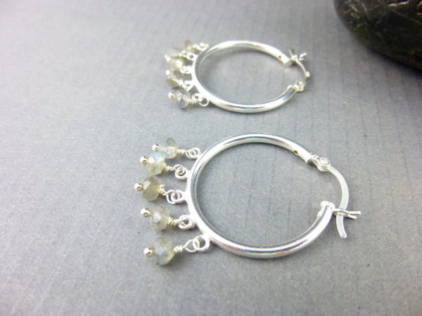 Everyday Labradorite Hoops, Sterling Silver, Third Eye Chakra Earrings
