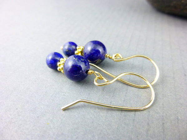 Lapis Lazuli Chakra Earrings, Dark Blue 14kt Gold Fill Dangles