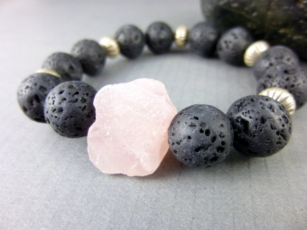 Lava Stone Chakra Bracelet, Rose Quartz - Earth Energy Gemstones