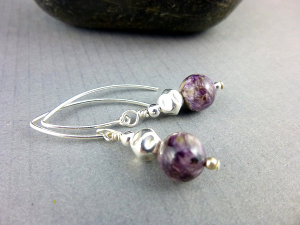 Charoite Heart & Crown Chakra Earrings, Sterling Silver