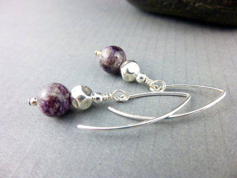 Crown Chakra Earrings, Charoite, Sterling Silver - Earth Energy Gemstones