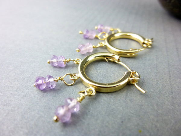Amethyst Hoop Earrings - Earth Energy Gemstones