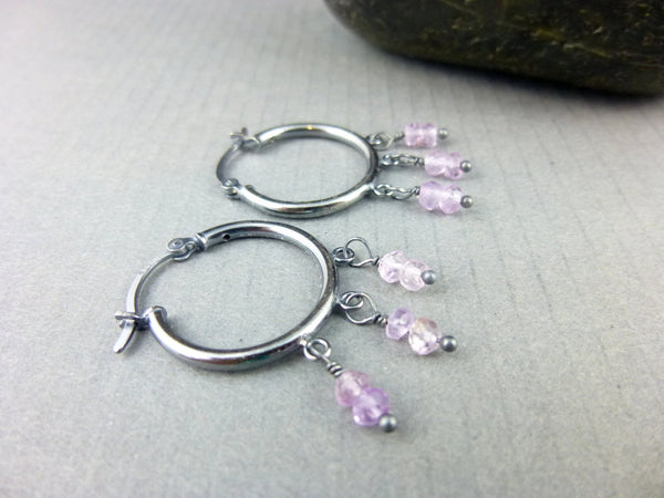 Small Amethyst Hoop Earrings - Earth Energy Gemstones