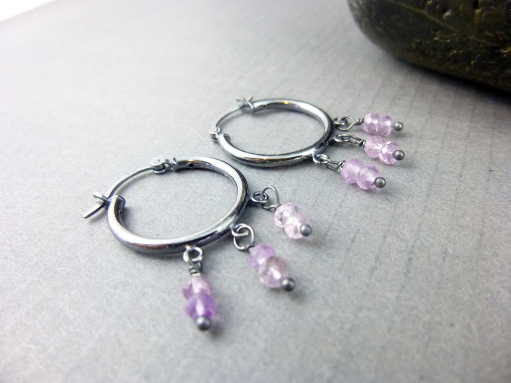 Small Amethyst Hoop Chakra Earrings, Sterling Silver, Third Eye ...