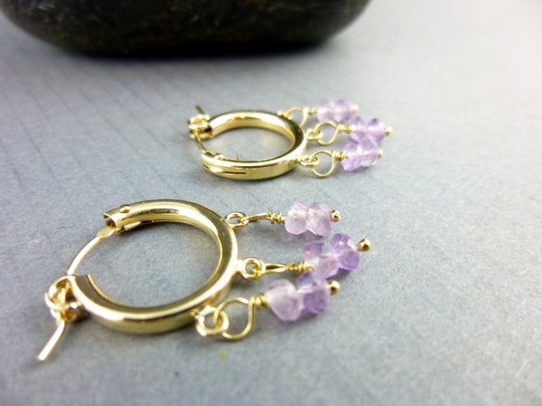 Purple Chakra Earrings, Gold Fill Hoops, Third Eye/Crown Chakras