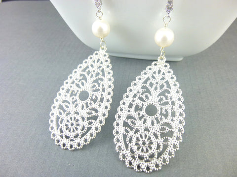 White Pearl Filigree Bridal Earrings - Earth Energy Gemstones