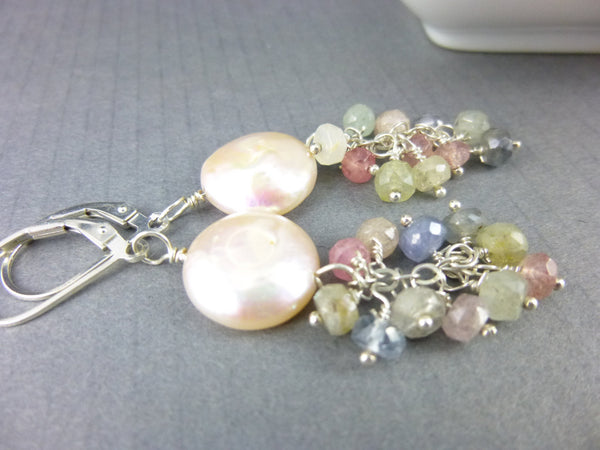 Coin Pearl Chakra Earrings, Moonstone and Sapphire