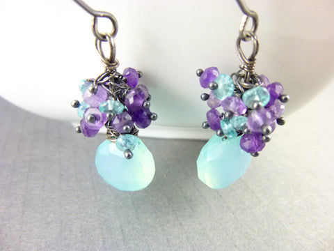Amethyst, Chalcedony & Apatite Cluster Earrings, Sterling Silver