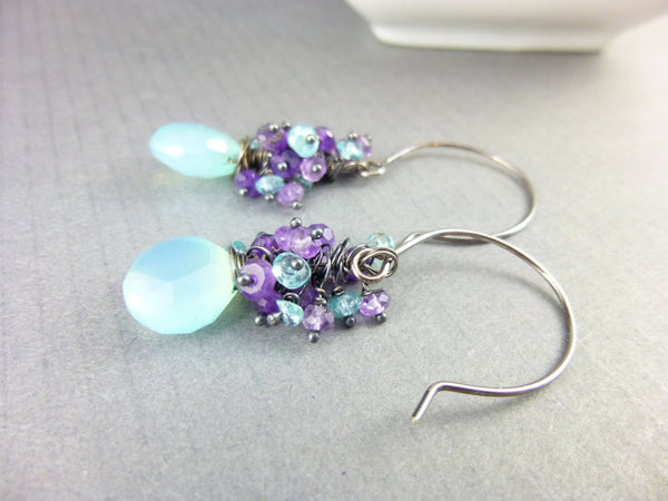 Amethyst Cluster Earrings, Sterling Silver - Earth Energy Gemstones