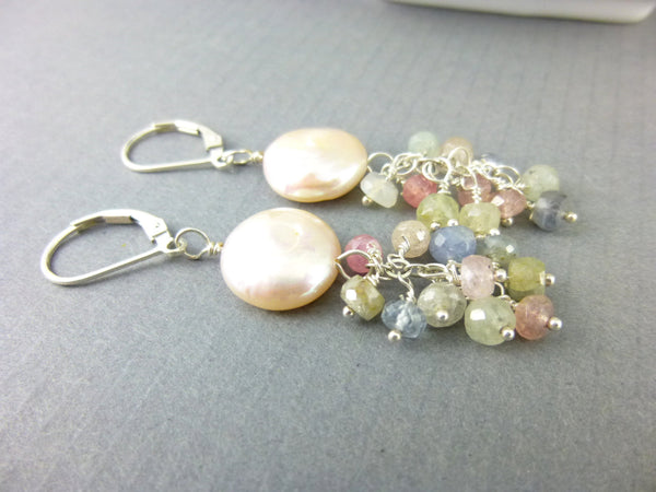 Coin Pearl Chakra Earrings, Moonstone and Sapphire - Earth Energy Gemstones