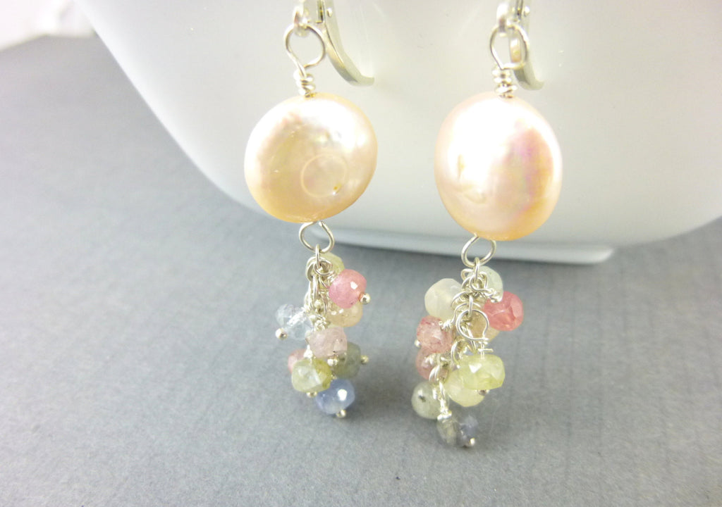 Coin Pearl Chakra Earrings, Moonstone and Sapphire and Sapphire Cluster Earrings, Gemstone Waterfall Chakra Earrings - Earth Energy Gemstones