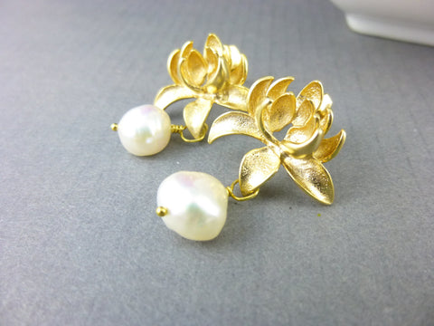 Pearl Lotus Earrings, Wedding Earrings - Earth Energy Gemstones
