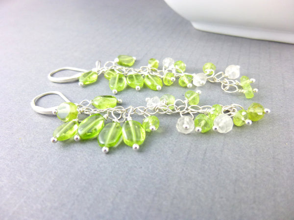 Peridot Shoulder Duster Earrings, Sterling Silver, Chakra Energy Jewelry