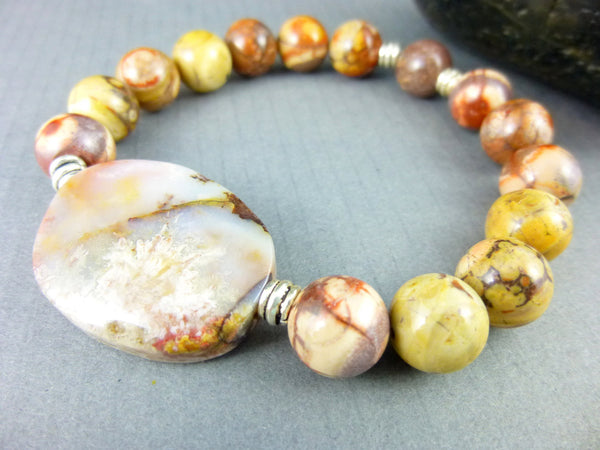 Laguna Lace Agate Chakra Bracelet, Rhyolite and Sterling Silver - Earth Energy Gemstones