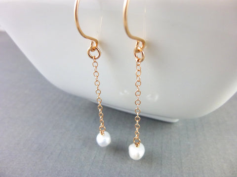 Long Pearl Dangle Earrings, Shouder Dusters - Earth Energy Gemstones