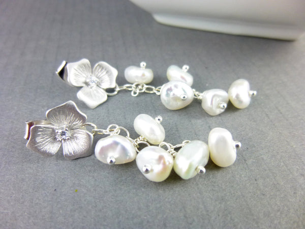 Keishi Freshwater Pearl Earrings, Pearl Bridal Earrings