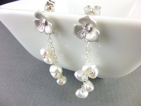Keshi Freshwater Pearl Earrings, Bridal Earrings - Earth Energy Gemstones