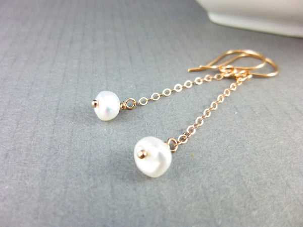 Long Keishi Pearl Earrings & Rose Gold Fill, Third Eye Chakra Earrings