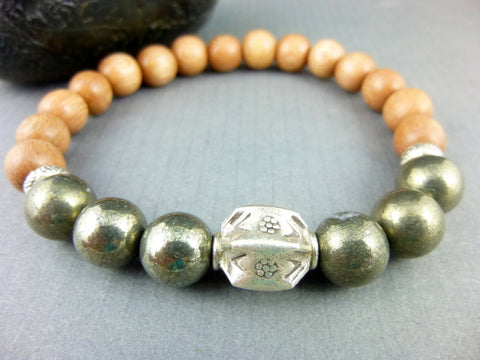 Men's Sandalwood Chakra Bracelet, Fine Silver - Earth Energy Gemstones