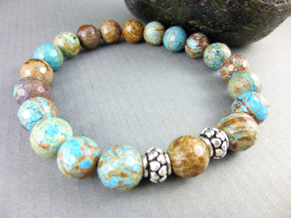 Flower Agate Chakra Stretch Bracelet, Sterling Silver