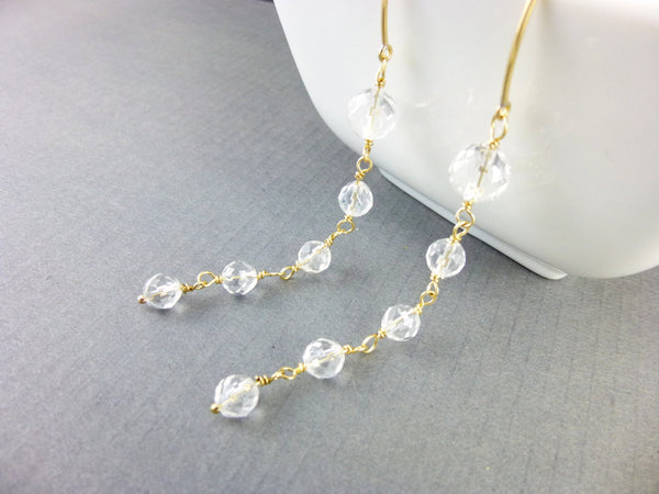Crystal Quartz Shoulder Duster Earrings, 14kt Gold Fill or Sterling Silver