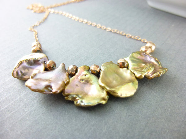 Keishi Pearl Chakra Necklace, Copper Cornflake Pearls & Rose Gold Filled Chain