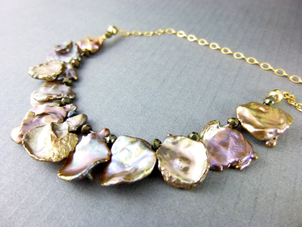 Lustrous Keishi Pearl Necklace, Copper Keishi Pearls & 14kt Gold Filled Chakra Necklace