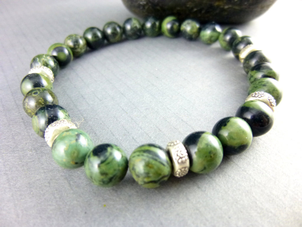 Men's Heart Chakra Stretch Bracelet, Kambaba Jasper - Earth Energy Gemstones