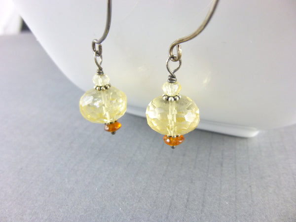 Yellow Chakra Earrings, Citrine November Birthstone - Earth Energy Gemstones