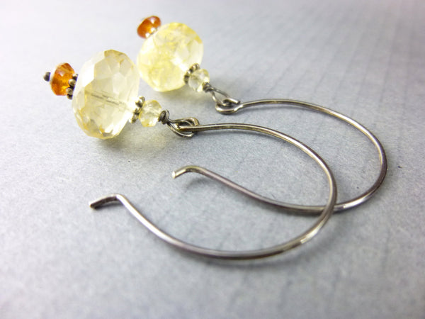 Citrine Chakra Earrings, November Birthstone, Sterling Silver