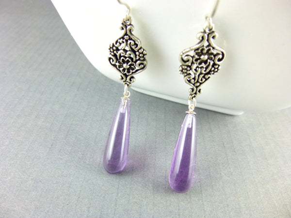 Bohemian Amethyst Chakra Earrings, Sterling Silver