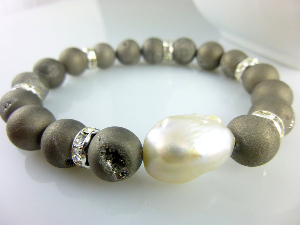 White Baroque Pearl and Grey Druzy Chakra Stretch Bracelet