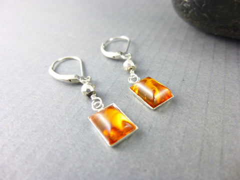 Authentic Baltic Amber Chakra Earrings, Sterling Silver - Earth Energy Gemstones