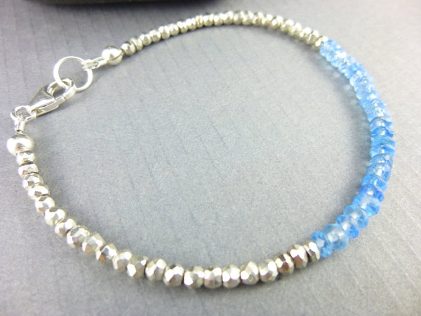 Topaz Throat Chakra Bracelet, Stacking Bracelet, Sterling Silver