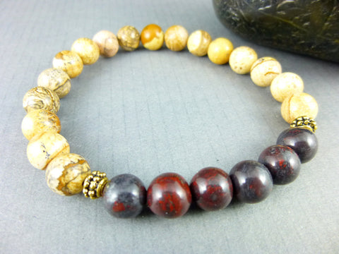 Men's All Chakras Bracelet, Jasper Bracelet - Earth Energy Gemstones