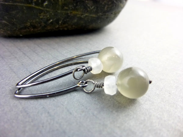 Grey & White Moonstone Chakra Earrings, Sterling Silver
