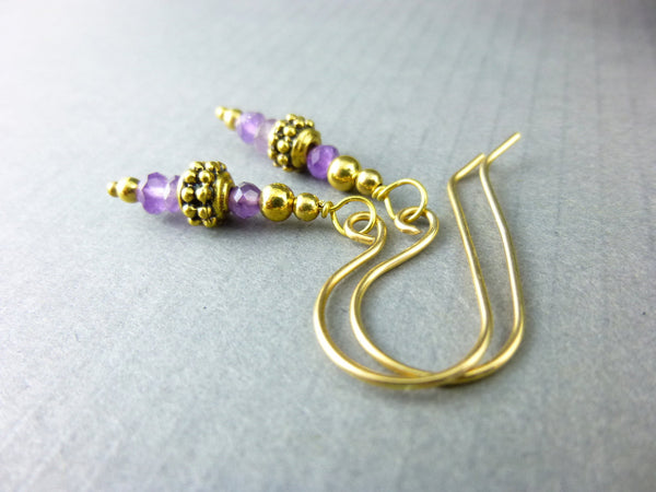 Amethyst Healing Crystals Chakra Earrings, February Birthstone, 14kt Gold Filled