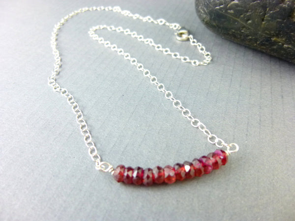 Garnet Bead Bar Chakra Necklace - Earth Energy Gemstones