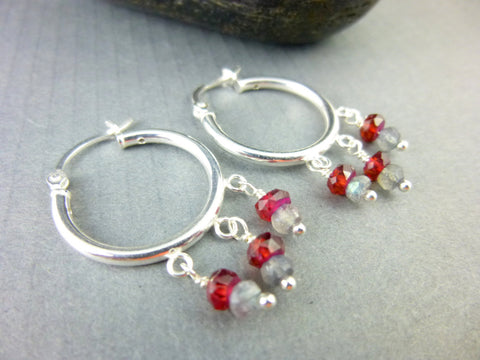 Garnet & Labradorite Hoops, Small Sterling Silver Earrings, Chakra Jewelry