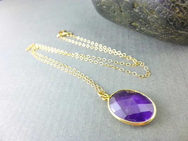 Amethyst Pendant Necklace, Crown & Third Eye Chakras, February Birthstone, 14kt Gold Filled