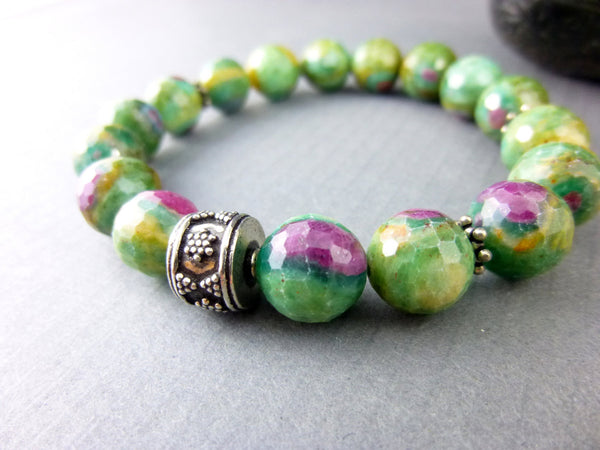 Ruby in Zoisite Chakra Bracelet, Heart and Crown Chakras - Earth Energy Gemstones
