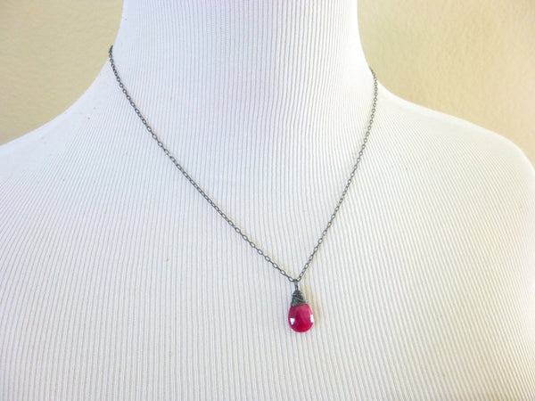 Ruby Chakra Necklace, Genuine Ruby Pendant Necklace, Sterling Silver