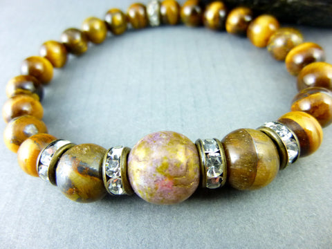 Tiger Eye Bracelet, Good Luck Chakra Bracelet - Earth Energy Gemstones