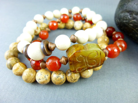 Boho Chakra Bracelet Set, Carnelian - Earth Energy Gemstones