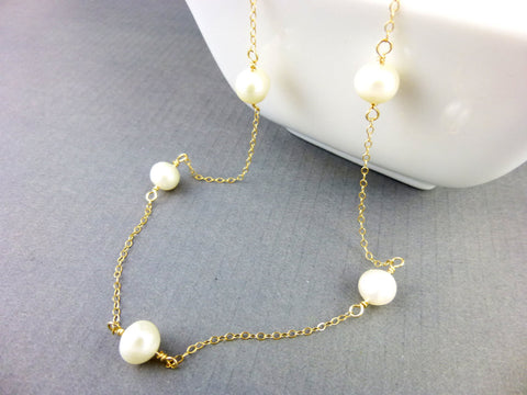 Baroque Pearl Bridal Necklace, Chakra Necklace, Gold Fill or Sterling Silver