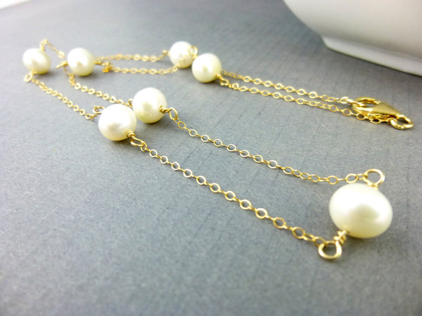 Baroque Pearl Bridal Necklace, Third Eye Chakra, Silver or Gold Fill
