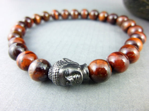 Men's Tiger Eye Chakra Bracelet, Buddha Bracelet - Earth Energy Gemstones